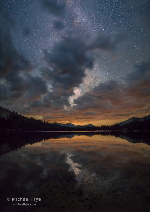 Clouds and Milky Way reflected in Tenaya Lake, Yosemite NP, CA, USA