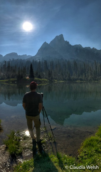 Michael capturing eclipse sequence, Augusut 21, 2017, Sawtooth Mountains, Idaho,