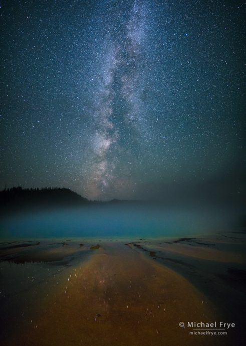 Milky Way over Grand Prismatic Spring, Yellowstone NP, WY, USA