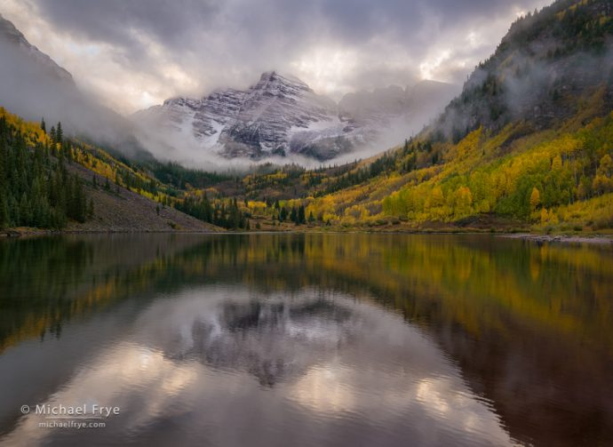 Maroon Bells in autumn, White River NF, CO, USA