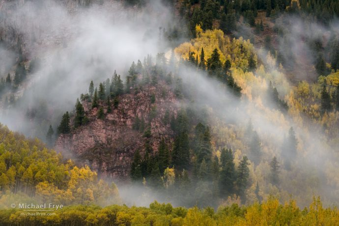 Aspens, conifers, and mist from Maroon Lake, White River NF, CO, USA