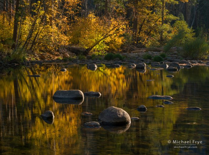 Late-afternoon light along the Merced River, autumn, Yosemite NP, CA, USA