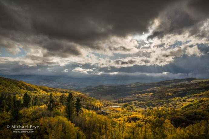Clouds, sunbeams, and aspens near McClure Pass, Grand Mesa-Uncompahgre-Gunnison NF, CO, USA