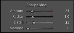 Adobe's default sharpening settings in Lightroom and Camera Raw.