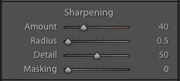 My default sharpening  camera settings for landscape photographs in Lightroom. These are just a starting point.