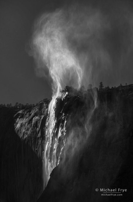 13. Wind-blown spray above Horsetail Fall, Yosemite NP, CA, USA