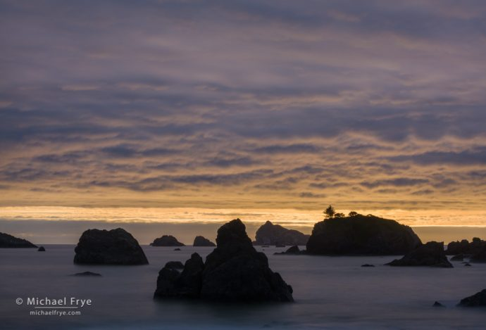 20. Clouds and sea stacks at sunset, Crescent City, CA, USA