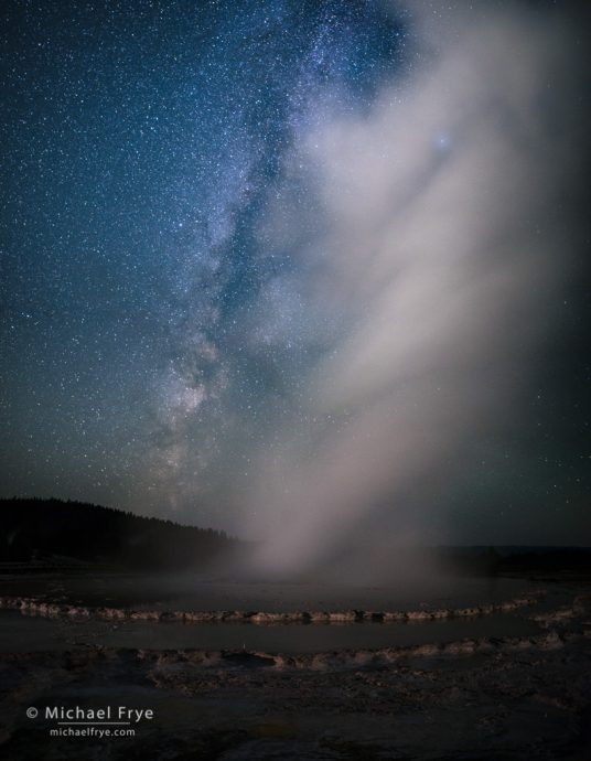 27. Great Fountain Geyser and the Milky Way, Yellowstone NP, WY, USA