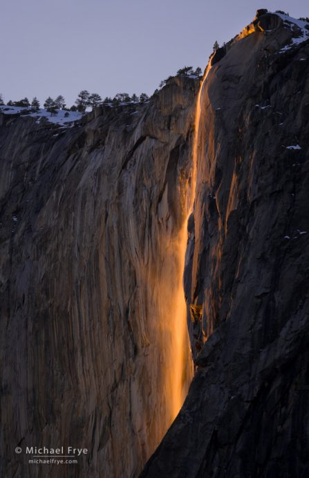 Horsetail Fall at sunset, February 19th, 2009, Yosemite NP, CA, USA