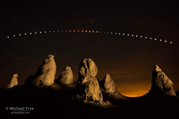 Moon's Path: Lunar eclipse sequence, April 14th and 15th, Trona Pinnacles, CA, USA