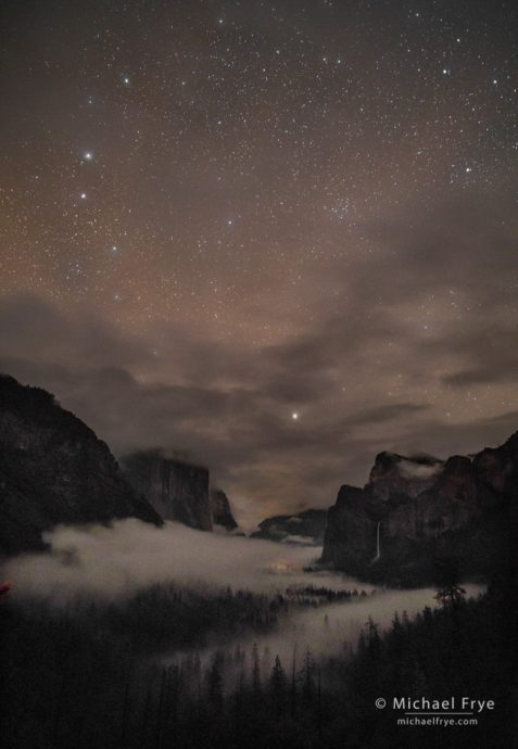 Yosemite Valley from Tunnel View at night, Yosemite NP, CA, USA