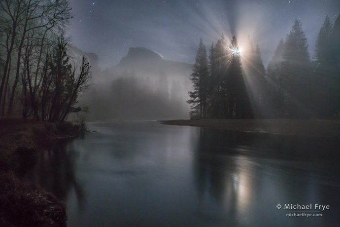 Misty moonrise, Half Dome and the Merced River, Yosemite NP, CA, USA