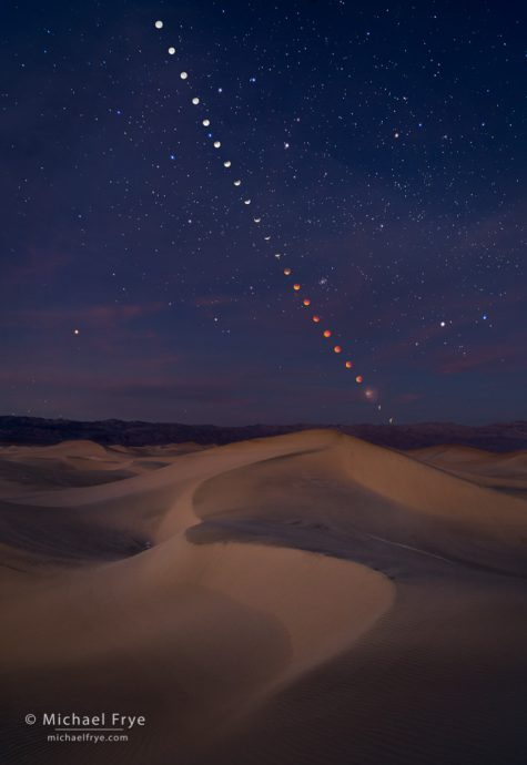 Photographer's Ephemeris 3d, Lunar eclipse sequence over the Mesquite Flat Dunes, January 31st, 2018, Death Valley NP, CA, USA