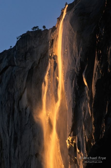 Horsetail Fall at sunset, Yosemite NP, CA, USA. Look for new Horsetail Fall Permit System
