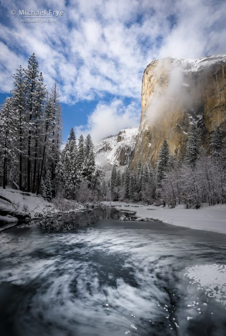 For Good Compositions, Create what I call a Visual Echo: Winter morning, El Capitan and the Merced River, Yosemite NP, CA, USA