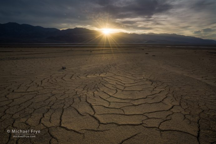 From Sunbeams and Starbursts: Mud cracks and setting sun, Death Valley NP, CA, USA