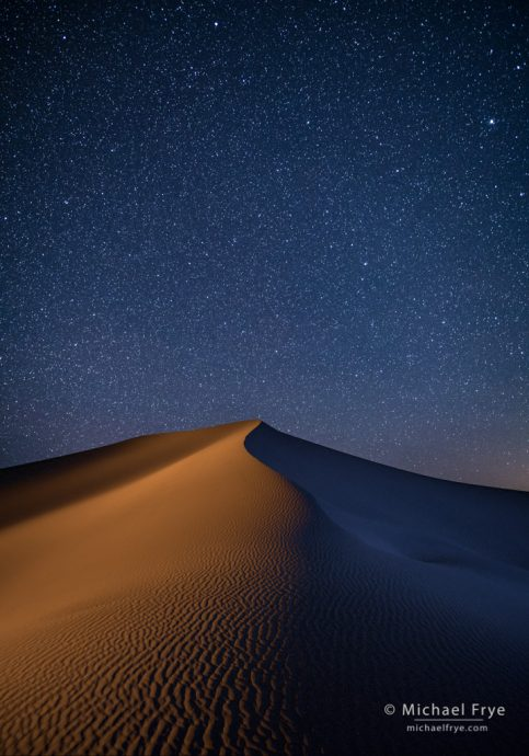 Sand dune at night, Death Valley NP, CA, USA