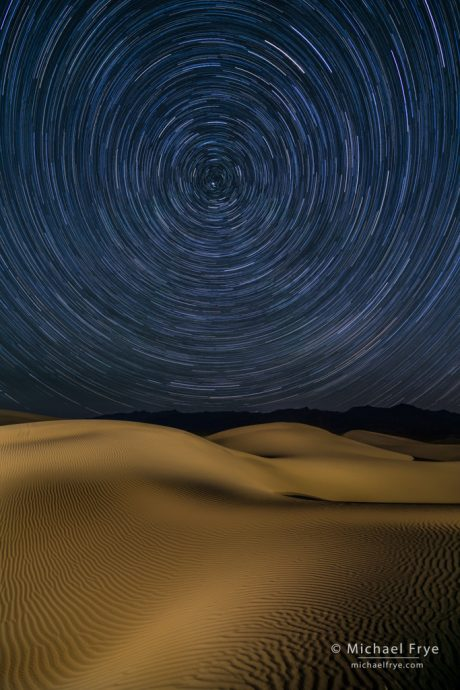 Star trails over the Mesquite Flat Dunes, Death Valley NP, CA, USA