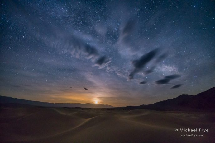 Moonrise from the Mesquite Flat Dunes, Death Valley NP, CA, USA
