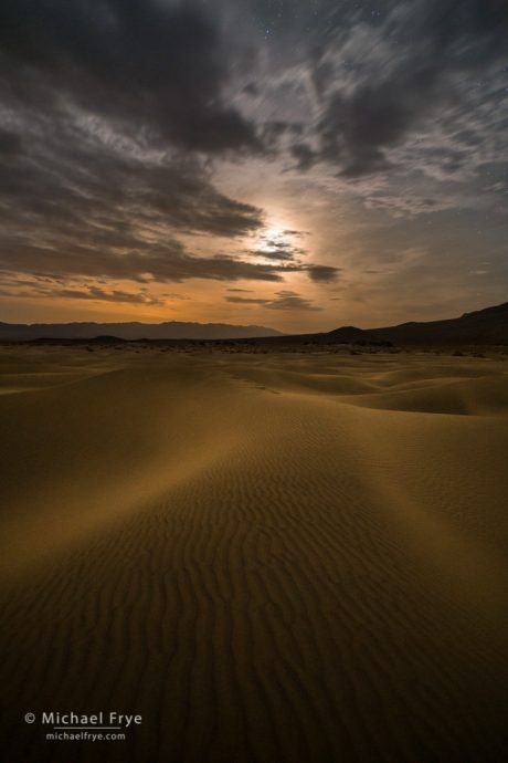 Sand and Stars: Moonlight on sand dunes, Death Valley NP, CA, USA