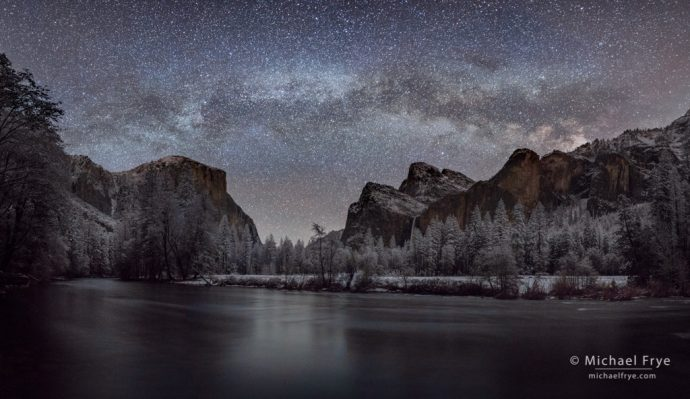 Milky Way over Yosemite Valley, Yosemite NP, CA, USA, panorama-stitching