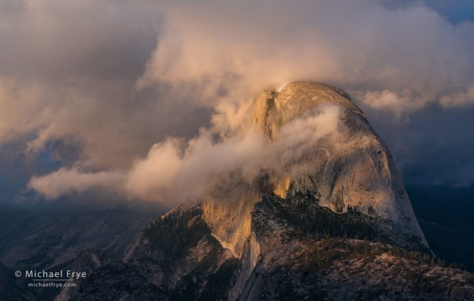 Half Dome and clouds from Glacier Point, Yosemite NP, CA, USA