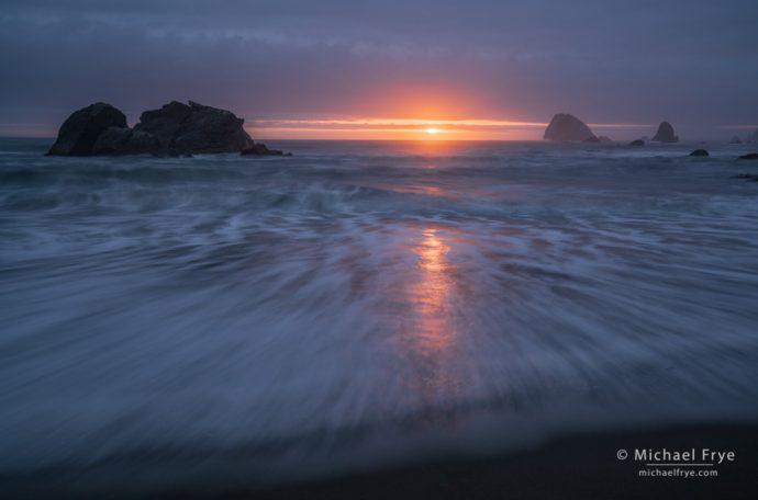 Sunset and sea stacks, Redwood NP, CA, USA