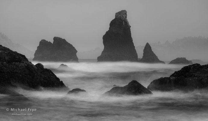 Sea stacks and surf near Trinidad, CA, USA