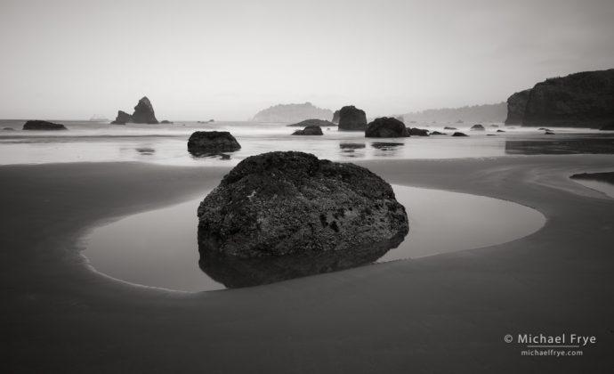 Tidepool and sea stacks near Trinidad, CA, USA