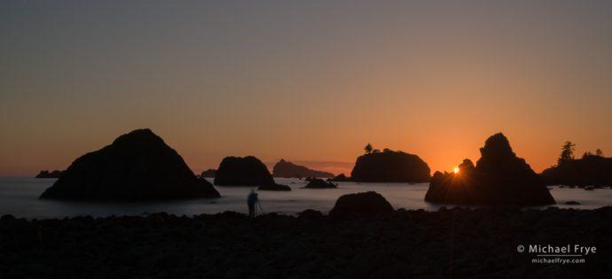 Photographer at sunset, Crescent City, CA, USA