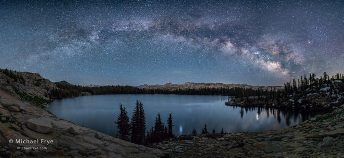 Milky Way over a high-country lake, Yosemite NP, CA, USA, Milky Way Panorama, High Country Panorama