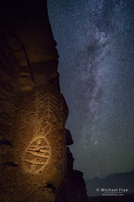 Petroglyphs and Milky Way, Owens Valley, CA, USA