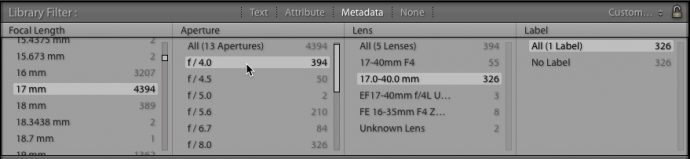 Refining the filter to show images made with a particular lens, focal length, and aperture.
