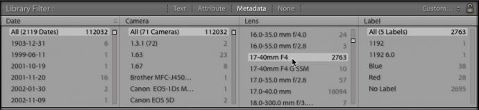 Using Lightroom Classic's Filter Bar to find images made with a specific lens.