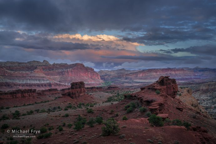 Storm clouds at sunset, Capitol Reef NP, UT, USA