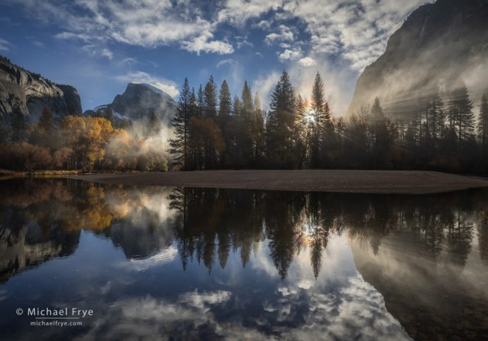 Misty sunrise, Half Dome and the Merced River, Yosemite NP, CA, USA