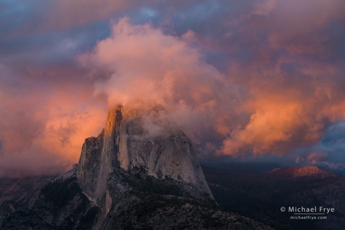 12. Half Dome and clouds at sunset from Glacier Point, Yosemite
