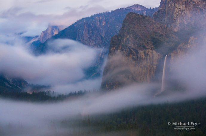 14. Half Dome and Bridalveil Fall from Tunnel View at dusk, Yosemite