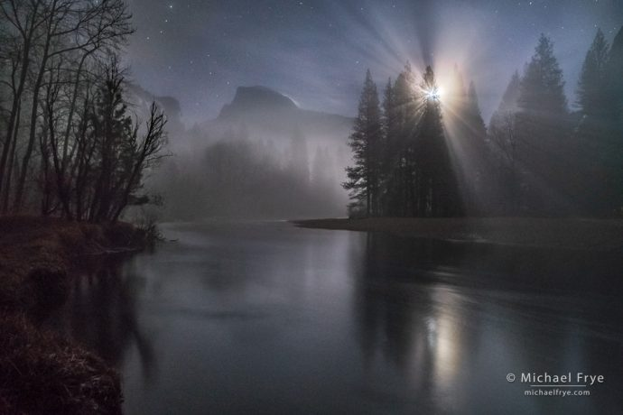 2. Misty moonrise, Half Dome and the Merced River, Yosemite