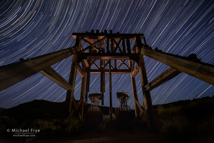 24. Head frame and steam hoist at night, Bodie SHP, California