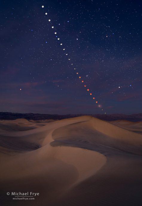 4. Lunar eclipse sequence over the Mesquite Flat Dunes, Death Valley