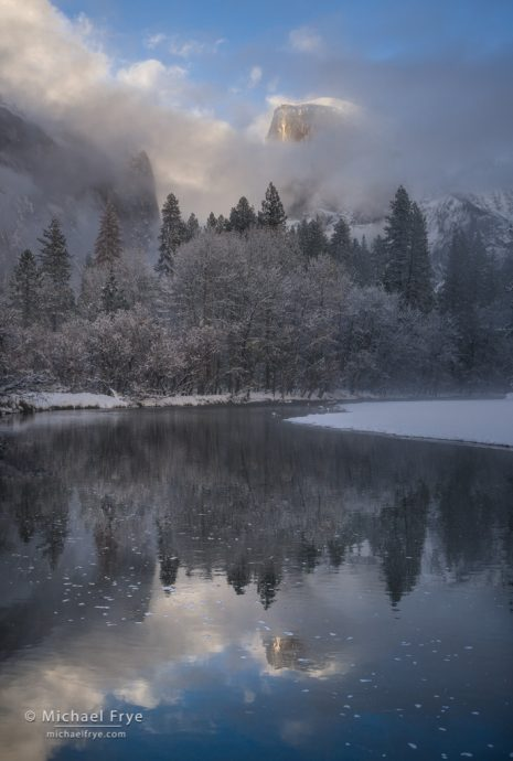 Half Dome and the Merced River on a winter afternoon, Yosemite NP, CA, USA