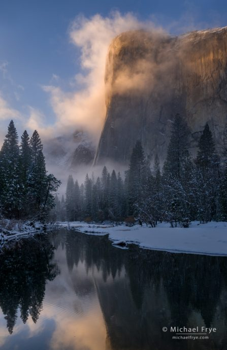 El Capitan and the Merced River at sunset, Yosemite NP, CA, USA