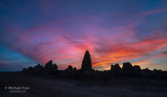 Sunset, Trona Pinnacles, CA, USA