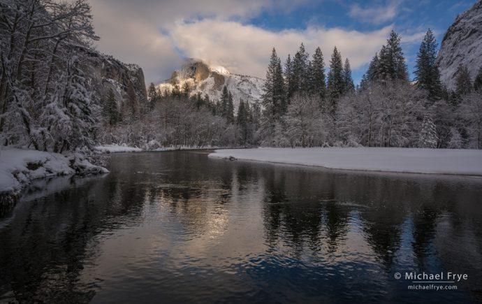 Half Dome and the Merced River in winter, Yosemite NP, CA, USA
