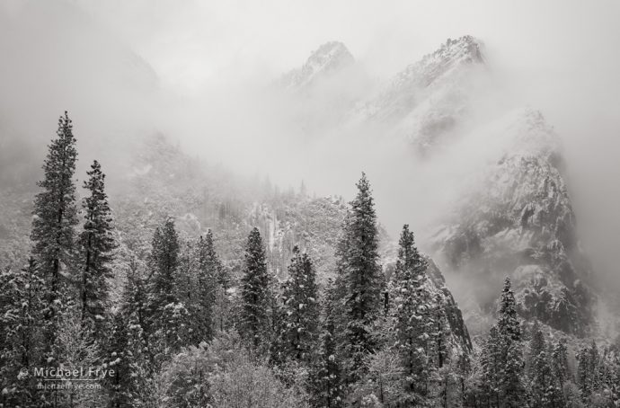 Snow, mist, trees, and Three Brothers, Yosemite NP, CA, USA