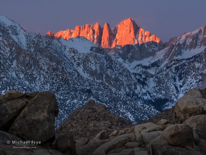 Mt. Whitney at sunrise from the Alabama Hills, CA, USA