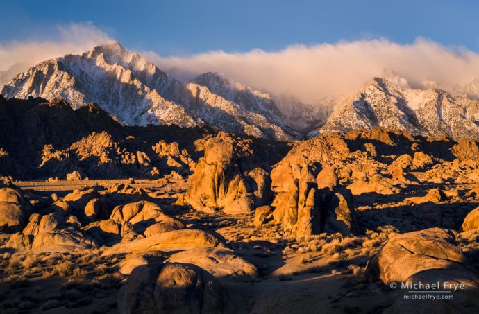 Early-morning light on Lone Pine Peak and the Alabama Hills, CA, USA