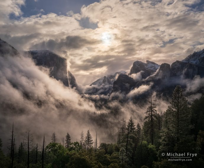 Swirling clouds and mist, sunrise, Yosemite NP, CA, USA