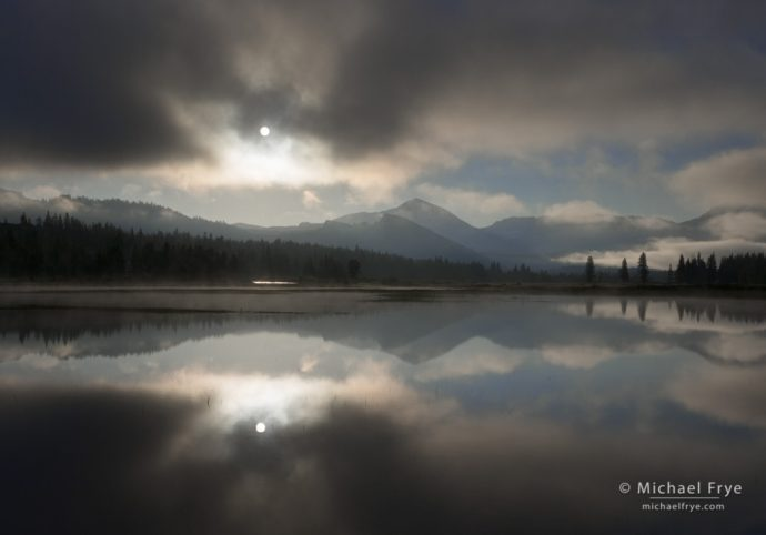 Sun breaking through Mist, Tuolumne Meadows, Yosemite NP, CA, USA